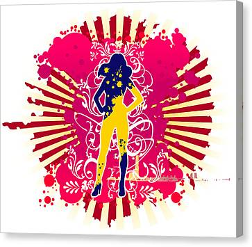 Outline Of Woman Figure Canvas Print by Eastnine Inc.