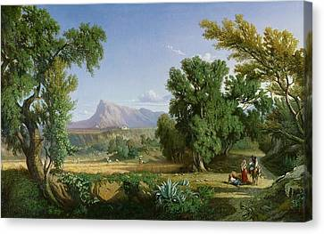 Outskirts Of Valdemusa Canvas Print by Adolphe Paul Emile Balfourier
