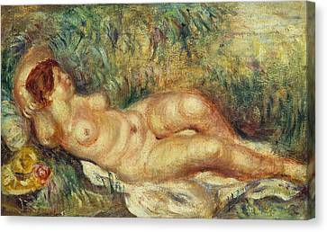 Outstretched Nude Canvas Print by Pierre Auguste Renoir
