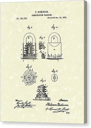 Padlock 1876 Patent Art Canvas Print by Prior Art Design