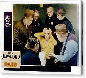 Paid, Joan Crawford Center, 1930 Canvas Print by Everett