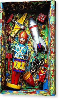 Painted Box Full Of Old Toys Canvas Print by Garry Gay