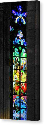 Painted Glass - Alfons Mucha  - St. Vitus Cathedral Prague Canvas Print by Christine Till