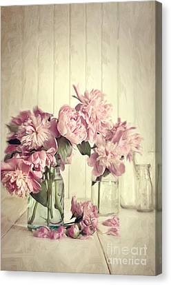 Painting Of Pink Peonies In Glass Jar/digital Painting   Canvas Print by Sandra Cunningham