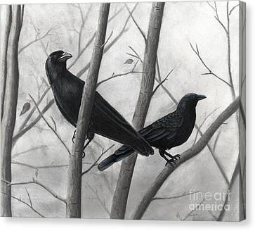 Pair Of Crows Canvas Print by Christian Conner