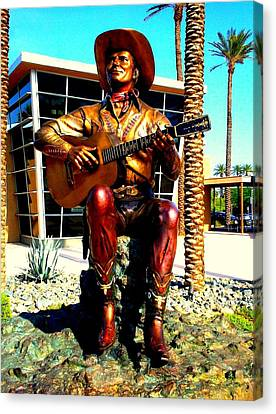Palm Springs Gene Autry Statue Canvas Print by Randall Weidner