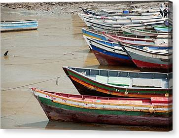 Panama, Panama City, Fishing Boats On Coastline At Low Tide Canvas Print by DreamPictures