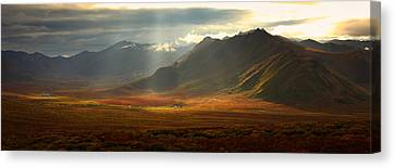 Panoramic Image Of The Cloudy Range Canvas Print by Robert Postma
