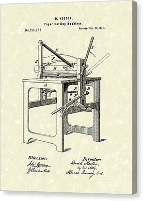Paper Cutter 1874 Patent Art Canvas Print by Prior Art Design