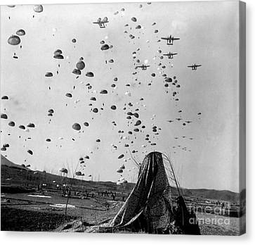 Paratroopers Jump From From C-119s Canvas Print by Stocktrek Images