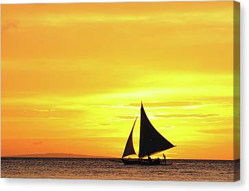 Paraw Sailing At Sunset, Philippines Canvas Print by Joyoyo Chen