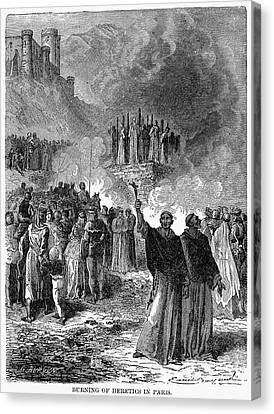 Paris: Burning Of Heretics Canvas Print by Granger