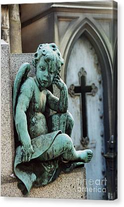 Paris Cemetery - Pere La Chaise - Cherub And Cross Canvas Print by Kathy Fornal