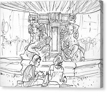 Paris Fountain Canvas Print by Marilyn MacGregor