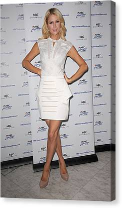 Paris Hilton At In-store Appearance Canvas Print by Everett
