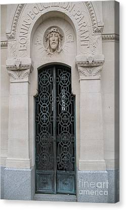 Paris Mausoleum Door With Jesus Canvas Print by Kathy Fornal