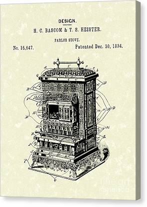 Parlor Stove Bascom And Heister 1884 Patent Art Canvas Print by Prior Art Design