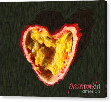 Passion Fruit With Text Canvas Print by Wingsdomain Art and Photography