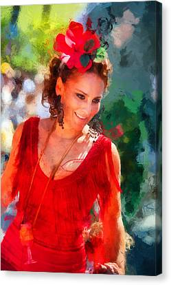 Passionate Gypsy Blood. Flamenco Dance Canvas Print by Jenny Rainbow