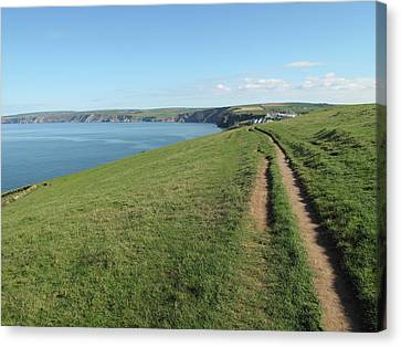 Path Along Coastline Port Isaac Cornwall Canvas Print by Thepurpledoor