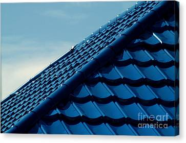 Pattern Of Blue Roof Tiles Canvas Print by Antoni Halim