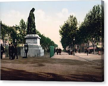 Paul Riquet Statue And The Allees In Beziers - France Canvas Print by International  Images