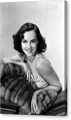 Paulette Goddard With Fur Coat Canvas Print by Everett