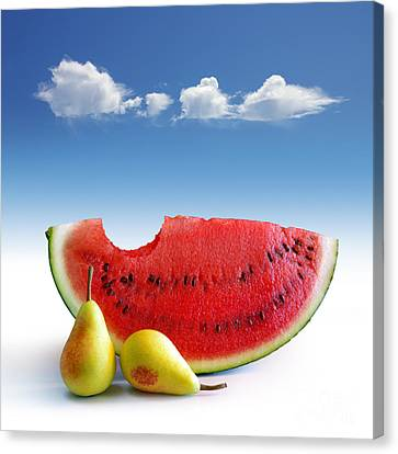 Pears And Melon Canvas Print by Carlos Caetano