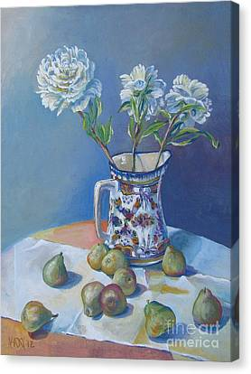 pears and Talavera table pitcher Canvas Print by Vanessa Hadady BFA MA
