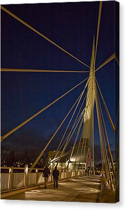 Pedestrians Cross The Modern Bridge Canvas Print by Taylor S. Kennedy