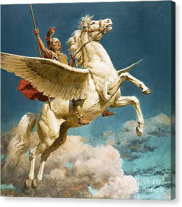 Pegasus The Winged Horse Canvas Print by Fortunino Matania