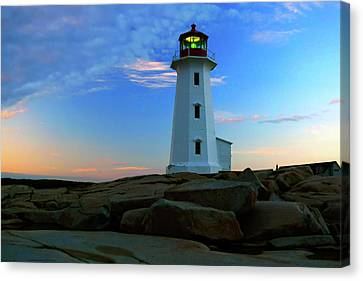Peggy's Cove Lighthouse At Sunrise Canvas Print by Rick Berk