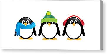 Penguins Isolated Canvas Print by Jane Rix
