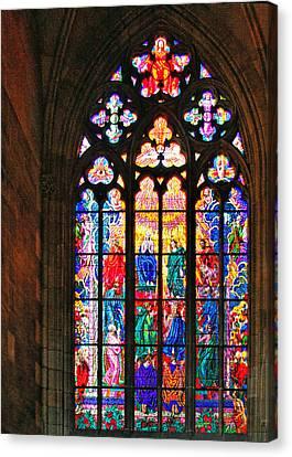 Pentecost Window - St. Vitus Cathedral Prague Canvas Print by Christine Till