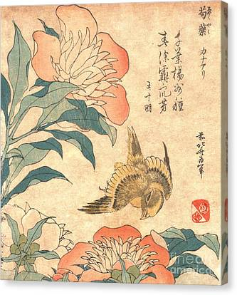 Peony And Canary Canvas Print by Padre Art