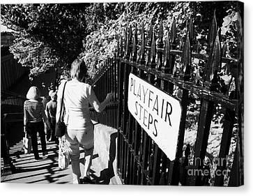 People Walking Down The Playfair Steps Down Into Princes Street Gardens Edinburgh Scotland Uk United Canvas Print by Joe Fox