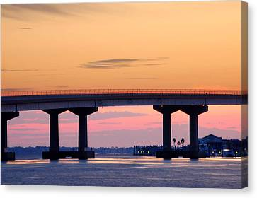 Perdido Bridge Sunrise Closeup Canvas Print by Michael Thomas
