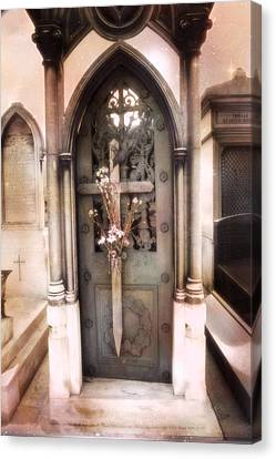 Pere La Chaise Cemetery Ornate Mausoleum Canvas Print by Kathy Fornal