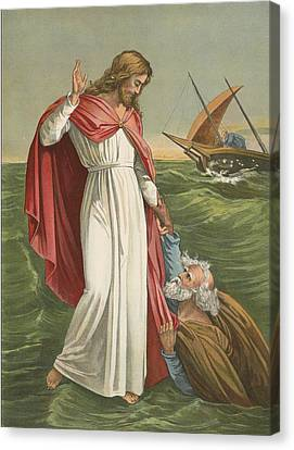 Peter Walking On The Sea Canvas Print by English School