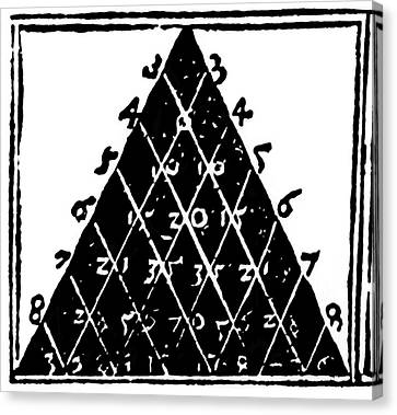 Petrus Apianus's Pascal's Triangle, 1527 Canvas Print by Dr Jeremy Burgess