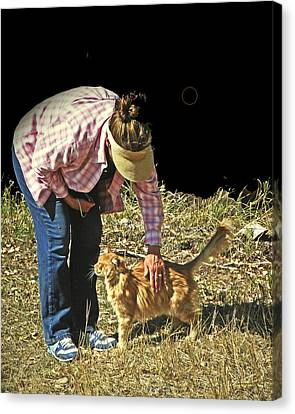Petting The Ranch Cat Canvas Print by Lenore Senior and Dawn Senior-Trask