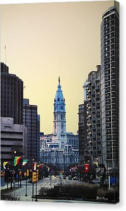 Philadelphia Cityhall At Dawn Canvas Print by Bill Cannon