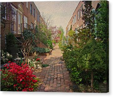 Philadelphia Courtyard - Symphony Of Springtime Gardens Canvas Print by Mother Nature