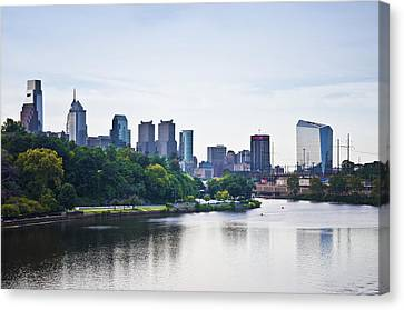 Philadelphia View From The Girard Avenue Bridge Canvas Print by Bill Cannon