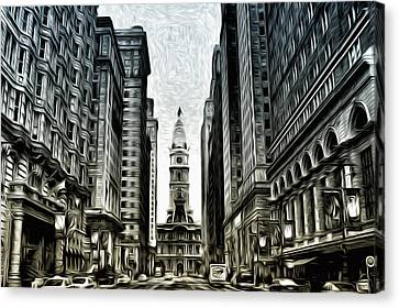 Philly - Broad Street Canvas Print by Bill Cannon