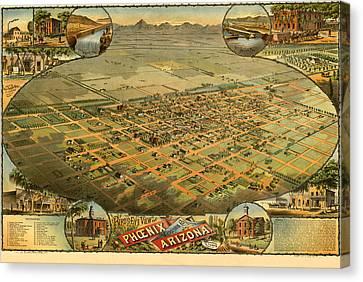 Phoenix Arizona 1885 Canvas Print by Donna Leach