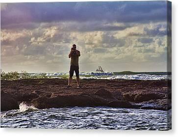 Photographing Seaside Life Canvas Print by Douglas Barnard