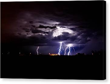 Phx Night Lightning 6 Canvas Print by Kenny Jalet