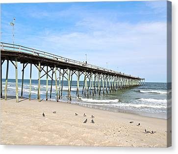 Pier At Kure Beach Canvas Print by Eve Spring