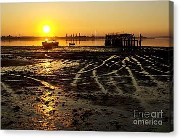 Pier At Sunset Canvas Print by Carlos Caetano